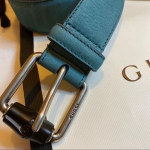 Gucci Green Suede Bamboo Leather Belt
